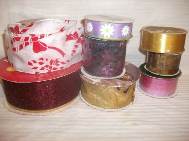 Large Lot Ribbon Wire Edge Grosgrain Various Colors & Yardage Crafts Floral Gift