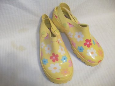 Girls' Gymboree Yellow w/ Flowers Rubber Slides / Shoes for Little Girl Size 1