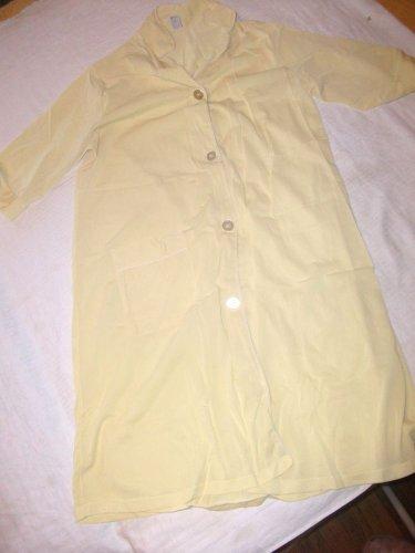 Vintage Yellow Nylon House Dress Win Jamas Button Up 1960's SZ 36