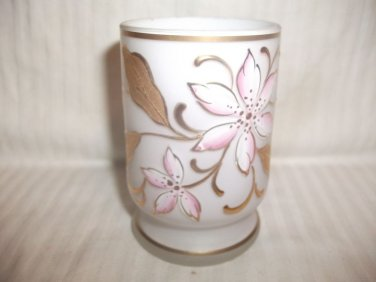 Antique Satin Glass Tumbler with Hand Painted Enamel Flowers Pink & Gold