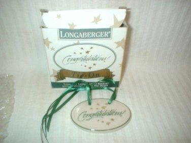 Longaberger Congratulations Tie On NIB Pottery Tie On NEW