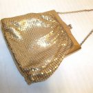"Vintage WHITING & DAVIS Gold METAL MESH HANDBAG Evening Dance PURSE 5"" x 5"" USA"