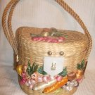 Vintage Philippines CHIC Cannister Straw Round Tote Purse Handbag RAFFIA Flowers