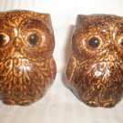 Vintage Pair Brown Owl Salt and Pepper Shaker Set Ceramic Pottery CUTE!!