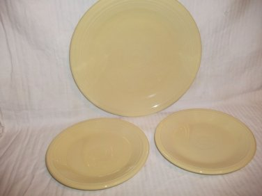 3 Homer Laughlin Fiesta Plates 10.5 & 7.25 Pale Yellow Genuine USA Lead Free