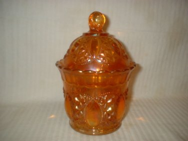 Imperial Carnival Glass Candy Jar Marigold Carnival Glass Candy Jar & Lid Tall