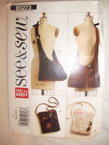 Butterick B5273 Sewing Pattern SEE & SEW EASY UNCUT Purse Bag 2 Styles NEW