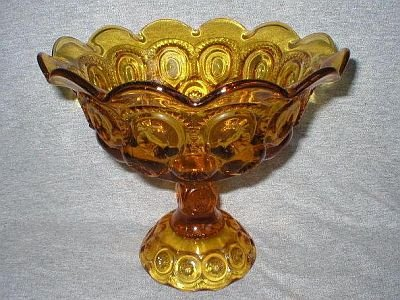 Smith Amber Gold Moon & Stars Footed Compote Dish