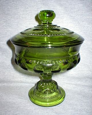 Indiana Glass Vintage Green Kings Crown Compote Jar