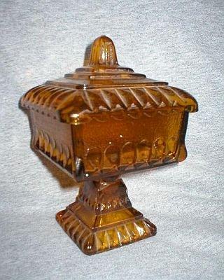 Jeannette Vintage Amber Gold Compote Wedding Dish