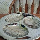 Sea Shell Scalloped Silver Chrome Tidbit Serving Tray