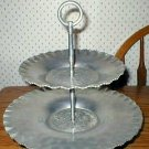 Hammered Aluminum 2-Tier Tidbit Serving Tray