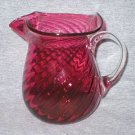 Pilgrim Art Glass Cranberry Red Swirl Pitcher or Vase