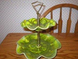 Cal Style Art Pottery 2-Tier Green Tidbit Serving Tray
