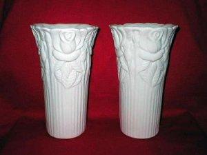 Napco Art Pottery Ceramic White Rose Flower Vases