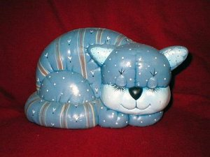 Art Pottery Blue Calico Kitty Cat Figurine