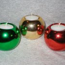 Christmas Holiday Ball Ornament Candle Holder Set
