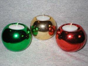 Christmas Holiday Ball Ornament Candle Holder Set