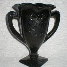 L.E. Smith Black Amethyst Loving Cup Trophy Vase