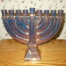 Art Pottery Metallic Copper 9-Light Hanukkah Menorah