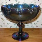 Indiana Blue Carnival Glass Teardrop Compote