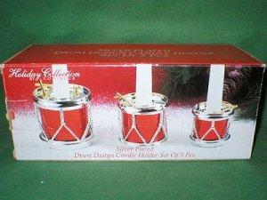 Godinger Silver Plated Red Drum Candle Holder Set