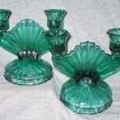 Jeannette Green Swirl Double Candle Holder Candlesticks