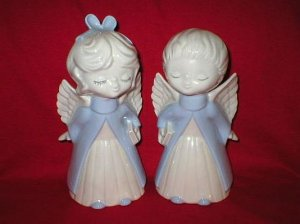 Cute Boy & Girl Porcelain Angel Figurines