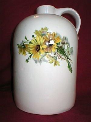 Big Art Pottery Ceramic Flower Vase Yellow Daisy Jug