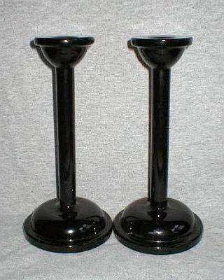 Modern Black Amethyst Glass Candlesticks