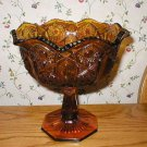 L.E. Smith Amber Gold Heritage Footed Glass Compote