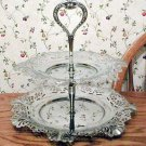 Modern Silver Chrome 2-Tier Reticulated Tidbit Tray