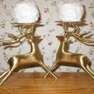 Two Solid Brass Reindeer Pillar Candle Holders