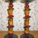 Tall Cast Iron Tropical Fruit Pillar Candlesticks