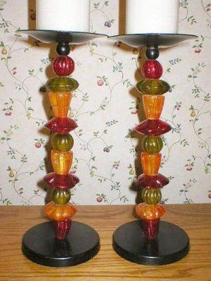 Tall Cast Iron Tropical Fruit Pillar Candlesticks