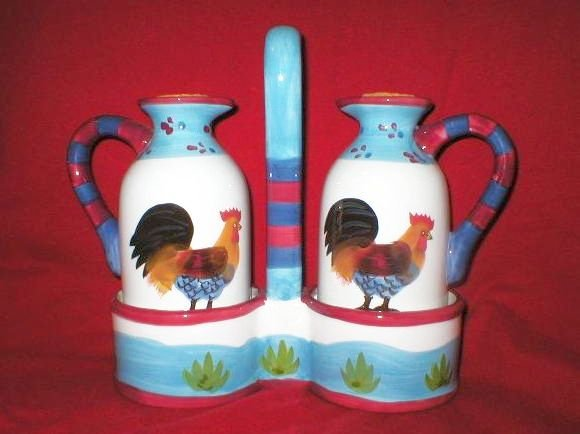 Art Pottery Country Chicken Rooster Oil Vinegar Set