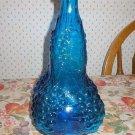 Blue Art Glass Grape Vine Decanter Bottle or Vase