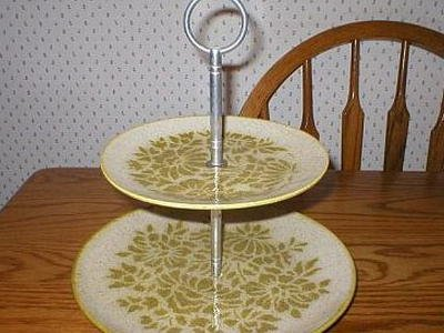 Red Wing Pottery Damask  2-Tier Tidbit Serving Plate