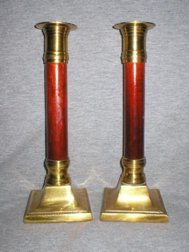 Korean Vintage Brass Cherrywood Candlesticks