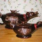 Vintage Redware Duck Goose Sugar Creamer Set