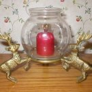 Solid Brass 3 Reindeer Christmas Holiday Candle Holder