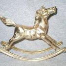 Polished Solid Brass Rocking Horse Figurine