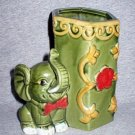 Vintage Art Pottery Green Elephant Flower Vase