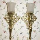 Pair Vintage Scroll Sconce Wall Candle Holders