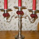 Vintage Red Jewel Pewter Candelabra Candle Holder