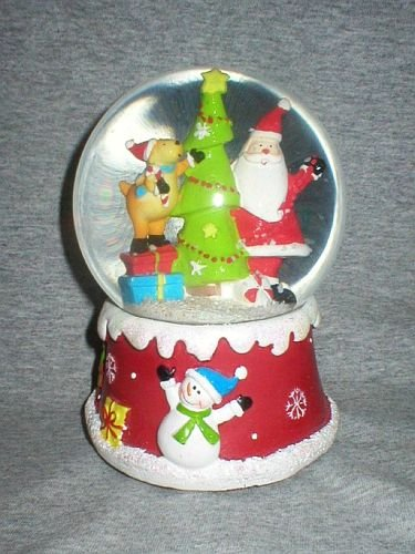 Santa, Dog & Christmas Tree Holiday Snow Globe