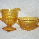 Indiana Glass Amber Gold Daisy Sugar Creamer