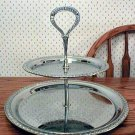 Irvinware Vintage Etched Chrome Tidbit Serving Tray