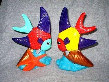 Art Pottery Ceramic Tropical Angel Fish Figurines