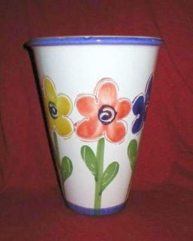 New England Pottery Hand Painted Flower Vase